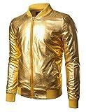 JOGAL Men's Metallic Party Costume Varsity Bomber Jacket XX-Large Gold