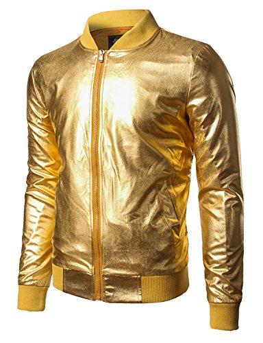 JOGAL Men's Metallic Party Costume Varsity Bomber Jacket Medium Gold