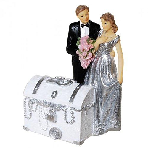Udo Schmidt Spardose Silberhochzeitspaar mit Schatztruhe 25 Jahre Sparschwein Sparbüchse Hochzeit
