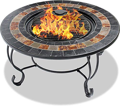 Homeology Centurion Supports DAKOTA Deluxe Garden & Patio Planter,Heater Fire Pit Brazier, Coffee Table, Barbecue and Ice Bucket with Slate Tiles