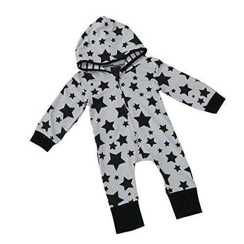 PINEsong PINEsong Baby Junge Mädchen Kinder Drucküberzug Spielanzug Overall Kleidung Outfit (Grau, 0/6M)