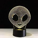 OUUED Alien Lámpara de mesa LED Única, hermosa, 3D, película, luz nocturna, colorida, ilusión, atmós...