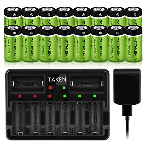 Arlo Rechargeable 123A Batteries, Taken 16 Pack 3.7V 750mAh CR123A Battery with Charger for Arlo Camera (VMC3030/VMK3200/VMS3330/3430/3530)