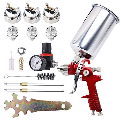 BANG4BUCK High Performance HVLP Gravity Feed Spray Gun with 1.4mm 1.7mm 2.5mm Fluid Tips, 1000cc Aluminum Cup for Auto Paint, Primer, Clear/Top Coat & Touch-Up