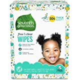 Seventh Generation Baby Wipes, Free & Clear Unscented and Sensitive, Gentle as Water, with Flip Top Dispenser, 504 count (Packaging May Vary)