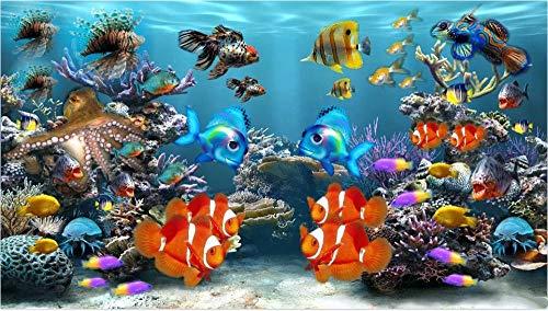 HXCHR Aquarium Ozeankoralle,DIY Malen nach Zahlen,für Erwachsene,Kinder,Leinwand Ölgemälde Geschenk Heimdekoratio(Frameless)-50X65cm