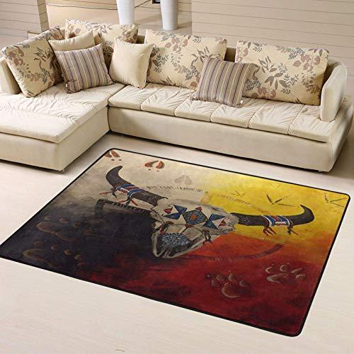 Anti-slip Area Rug 63'x48' Southwest Native American Medicine Wheel Large Floor Carpet Yoga Mat Carpet Home Decor for Living Room