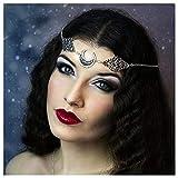 Anglacesmade Bohemia Crystal Head Cadena Cabeza Luna Hueco Media Luna Forehead Cadena Crystal Diadema Fiesta Fiesta Fiesta Pelo Joyería para Mujer y Niñas