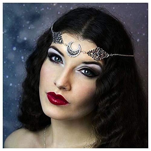 Aimimier Bohemian Crystal Head Chain Moon Head Chain Hollow Crescent Moon Forehead Chain Crystal Headband Prom Festival Party Hair Jewelry for Women and Girls