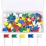NATUCE 100 Piezas Chinchetas Banderas para Mapas, Chinchetas para Corcho, Chinchetas de Mapa, Colores Chinchetas para Tablon de Anuncios tablón de Corcho Mapa, 5 Colores Variados