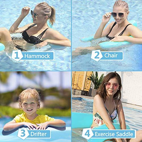 ECtury Aufblasbare Wasserhängematte, 4 in 1 Luftmatratze Pool Schwimmbett mit Netz, Aufblasbare Hängematte Loungesessel Pool Lounge Matratzen, Luftmatratze Schwimmmatratze für Erwachsene Kinder(Blue)