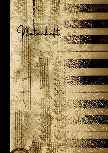 """Notenheft \""""Vintage Design Nr. 2\"""" für Kompositionen - Blanko Notenblock - Musikheft für die Schule oder Musikunterricht: 101 Seiten leeres Notenpapier ... Inklusive Inhaltsverzeichnis und Seitenzahlen"""