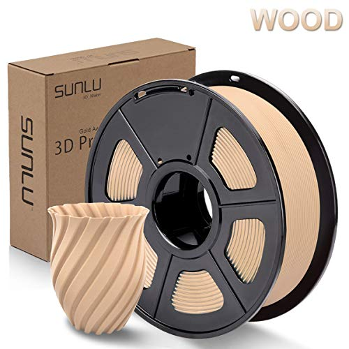 SUNLU Wood 3D Printer Filament 1.75mm PLA Filament 1kg/Spool for 3D Printing, Dimensional Accuracy +/- 0.02 mm, Real Wood Filament