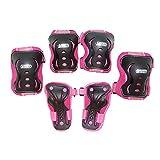 Best Sporting 30265 - Schützer Set für Mädchen, je ein Paar Knie-, Ellenbogen- und Handrückenschützer in pink/schwarz, Größe: XS/S für Kinder von 3 - 7 Jahren