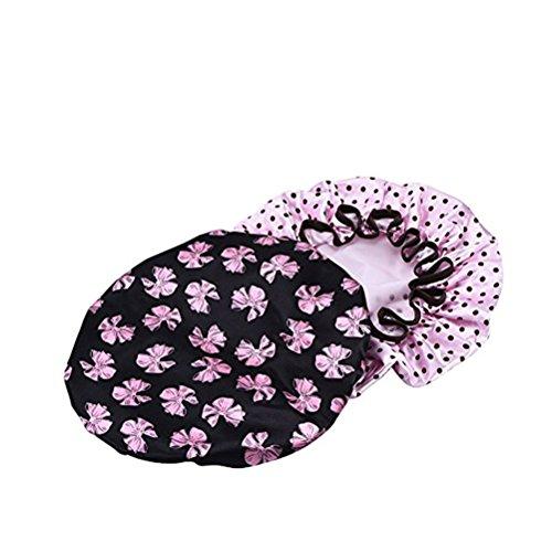 Ultnice 2 pcs étanche Bonnet de douche élastique Bonnet de bain avec Dot/motif fleur pour femmes filles (Noir Papillon avec rose points)