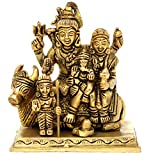 Shiva Parivaar - Shiva Family - Brass Statue - Bholenath Shankar Parvati Ganesh Family Murti Idol - Sculpture