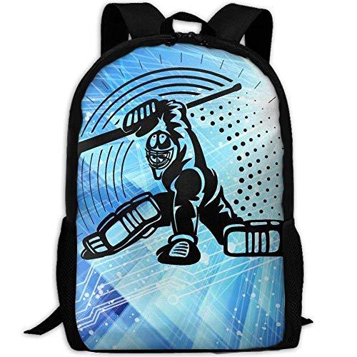 VNFDAS Schulrucksack und Lunchbox Tasche Set für Kinder, personalisierbare Schulranzen – Hockey Toraltender