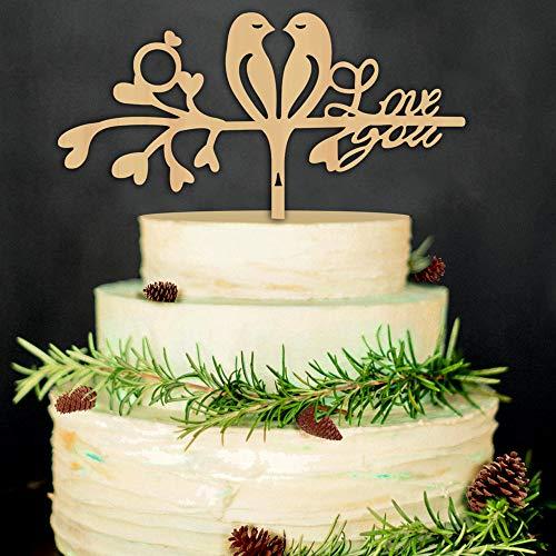 Miss-shop Love You Cake Topper,Sposa di Legno Decorazione Torta & Wedding Cake Topper Decorazione
