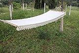XiYou Hamaca de algodón para jardín al Aire Libre Hamaca Doble, alargar y ensanchar 200 x 80 cm hasta 120 kg para Viajes y jardín