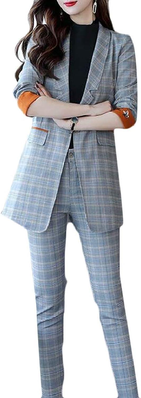 PujinggeCA Women Plaid One Button Long Sleeve Blazer and Pants Suit Set