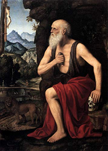 "Bernardino Luini The Penitent Saint Jerome 1525 Museo Poldi Pezzoli 30"" x 21"" Fine Art Giclee Canvas Print (Unframed) Reproduction"
