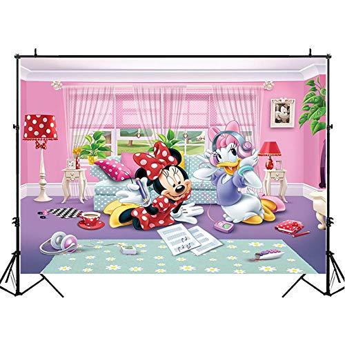 Fotografía de fondo Minnie Mouse y Daisy Duck Dibujos animados de vinilo para estudio de fotos, accesorios para decoración de fiestas, decoración de fotos, 7 x 5 pies, fondo para fiesta de cumpleaños