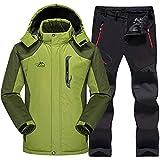 AXIANNV Ski Suit Men Waterproof, Thermal Snowboard JacketPantalones Hombre Esquí de montaña y Snowboard Winter Snow Clothes Set, Verde, XXL