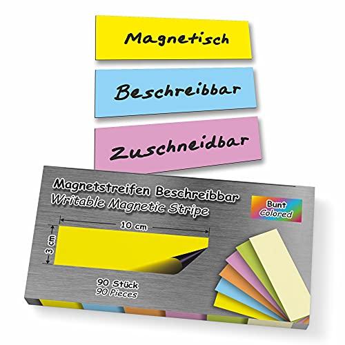 90 Stück Magnetstreifen 3x10 cm Beschreibbar Abwischbar Wiederverwendbar Zuschneidbar Magnetschilder Magnetische Etiketten Bunt Whiteboard Kühlschrank Magnettafel Präsentationskarten