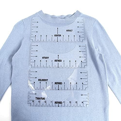 Portátiles Guía de Reglas de Camisetas, Regla de Costura para Manualidades, Herramienta De Alineación De 4 Piezas, Herramienta De Calibración De Camiseta De Cuello Redondo Regla De Artesanía