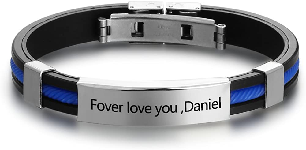 Fixed price for sale Personalized Lowest price challenge Engraved Stainless Steel Rubber Bracelet Wo for Men