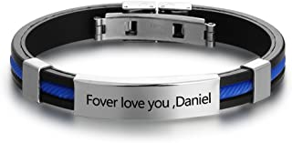 Personalized Engraved Stainless Steel Rubber Bracelet for Men Women Kids DIY Custom Name Date ID Bracelet