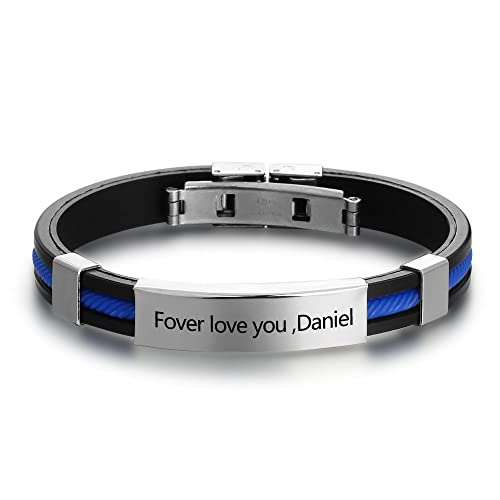 6f199d3246f6d Personalized Engraved Stainless Steel Rubber Bracelet for Men Women Kids  DIY Custom Name Date ID Bracelet