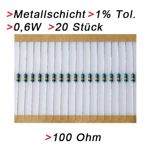 Widerstand 100 Ohm, 20 Stück, Metallschicht 0.6W 1% Metallfilm Widerstände