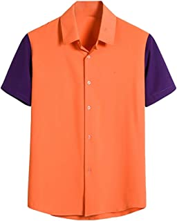 FRPE Mens Casual Short Sleeve Contrast Color Loose Fit Button Down Shirts