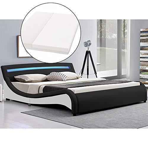 ArtLife Polsterbett Malaga komplett mit Kaltschaum-Matratze, Lattenrost und LED Beleuchtung im Kopfteil | 180 x 200 cm | schwarz | Bett Doppelbett