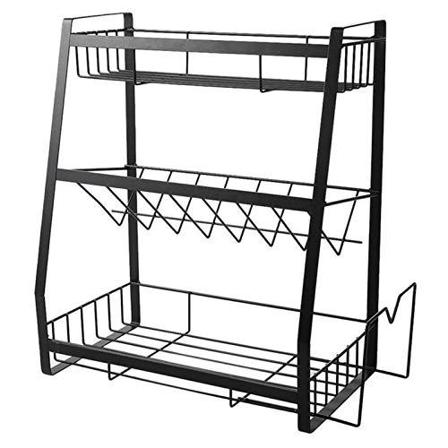 QASUF Iron Three-layer Seasoning Rack, Kitchen Rack, Desktop Storage Box, Simple Kitchen Display Rackk