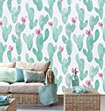 Toduso Fun Peel and Stick Wallpaper Cactus Cute Contact Paper17.7''x118''Plant Contact Paper Green and White Wallpaper Self-Adhesive Waterproof Removable Wallpaper Decoral Wall Covering Cabinet Vinyl