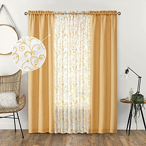 AUFENLLY 2 Embroidery Floral Semi Sheer Curtains and 2 Burlap Curtains 4 Panels Sets Country Curtains for Girls Bedroom Living Room Curtains for Windows (4 Panels, Cornsilk, W27.5xL95 Inch Each)