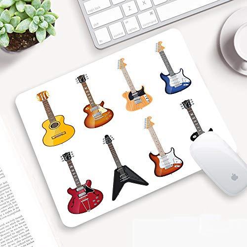 Alfombrilla para ratón 32x 25 cm,Guitarra, una amplia variedad de instrumentos de cuerda Patrón musical realista,Goma Impermeable Cojín de Ratón Antideslizante Mousepad para Ordenador Portátil Oficina