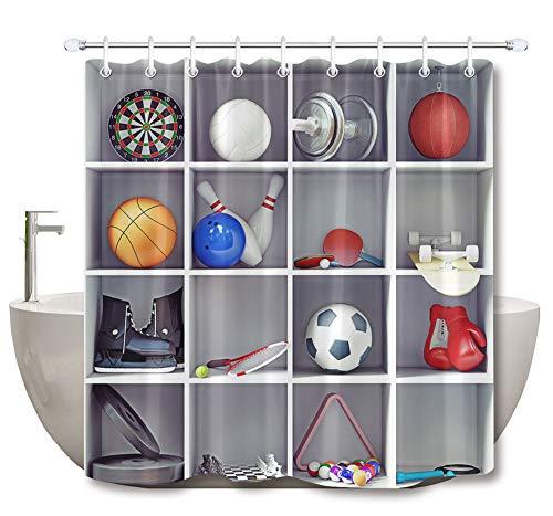 ZZZdz sportuitrusting in kast, deco, douchegordijn, 180 x 180 cm, 12 haken, 3D-print, HD-print