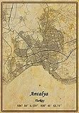 Türkei Antalya Landkarte Poster Leinwanddruck Vintage Stil
