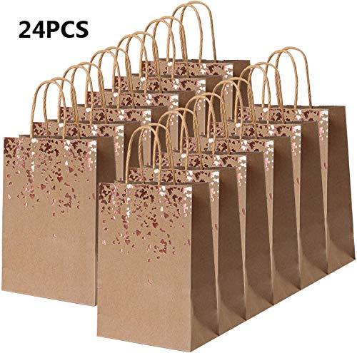 XNX 24 Stück, 21 * 8 * 15, Roségold Herz Kraftpapiertüte, Geschenktüte mit Griff. Geburtstagsfeier, Geschenk, Restaurant zum Mitnehmen, Einkaufen, Einzelhandel (130gsm)