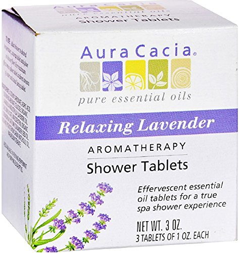 Aura Cacia Aromatherapy Shower Tablets, Relaxing Lavender 3 ea (Pack of 4)