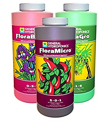 General Hydroponics Flora Grow, Bloom, Micro Combo Fertilizer Set, 1 pint (Pack of 3)