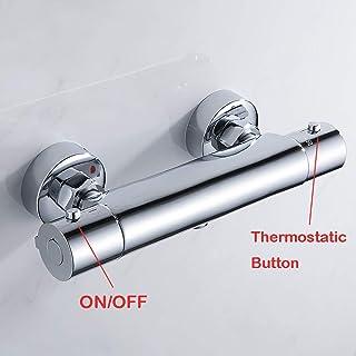 Grifo mezclador de ducha termostático con válvula de desviador de latón, para montar en la pared, con acabado cromado
