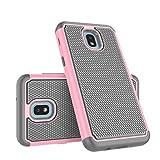 Takfox Galaxy J7 2018 Case, Phone Case for Samsung J7 Crown/J7 Refine/J7 Star/J7 V/J7 Aero/J7 Aura Protective Heavy Duty Shockproof Hard PC Back & Soft Silicone Dual Layer [Ysaturn] Armor Cover,Pink
