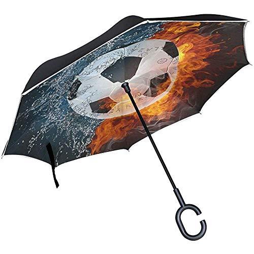 Paraguas inverso Balón de fútbol Fuego Agua Paraguas invertido A ...