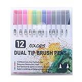 GOLD LEAF Coloring Art Markers Set, 12 Colors Dual Tips Fine Point Water Based Marker Fineliner Pens, 0.4mm fine tip and 1-6mm Brush tip