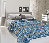 HomeLife Frühling Sommer leichte Tagesdecke [260x280], Qualität aus Italien|Hergestellt aus hochwertiger Baumwolle|Meerleben Motiv|Einzelbettdecke aus feinem Stoff für warme Jahreszeiten Blau