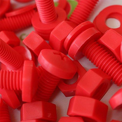 20 x Tornillo de cabeza troncónica Polipropileno Rojos (PP), Pernos Tornillos y Tuercas de Plástico, M8 x 20mm, arandelas